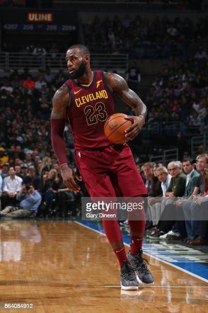 LeBron James of the Cleveland Cavaliers handles the ball against the Milwaukee Bucks on October 20 2017 at the BMO Harris Bradley Center in Milwaukee...