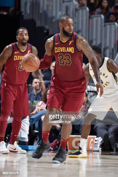 LeBron James of the Cleveland Cavaliers handles the ball against the Indiana Pacers on November 1 2017 at Quicken Loans Arena in Cleveland Ohio NOTE...