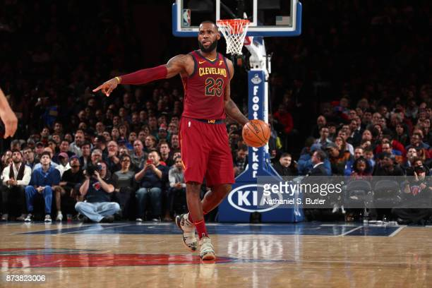 LeBron James of the Cleveland Cavaliers handles the ball against the New York Knicks on November 13 2017 at Madison Square Garden in New York City...
