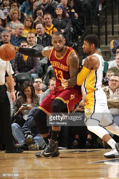 LeBron James of the Cleveland Cavaliers handles the ball during the game against the Indiana Pacers on February 1 2016 at Bankers Life Fieldhouse in...