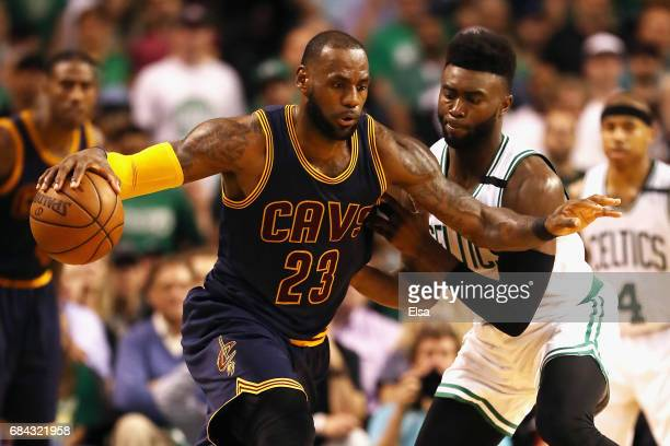 LeBron James of the Cleveland Cavaliers handles the ball in the second half against the Boston Celtics during Game One of the 2017 NBA Eastern...