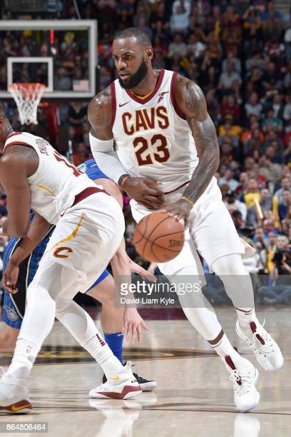 LeBron James of the Cleveland Cavaliers handles the ball on October 21 2017 at Quicken Loans Arena in Cleveland Ohio NOTE TO USER User expressly...