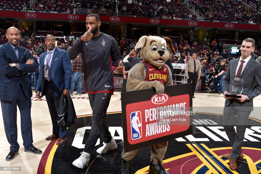 LeBron James #23 of the Cleveland Cavaliers has been named the Kia NBA Eastern Conference Player of the Month before the game against the Orlando Magic on January 18, 2018 at Quicken Loans Arena in Cleveland, Ohio.