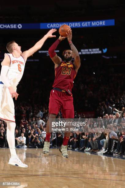 LeBron James of the Cleveland Cavaliers hits the game winning shot to defeat the New York Knicks 104101 on November 13 2017 at Madison Square Garden...
