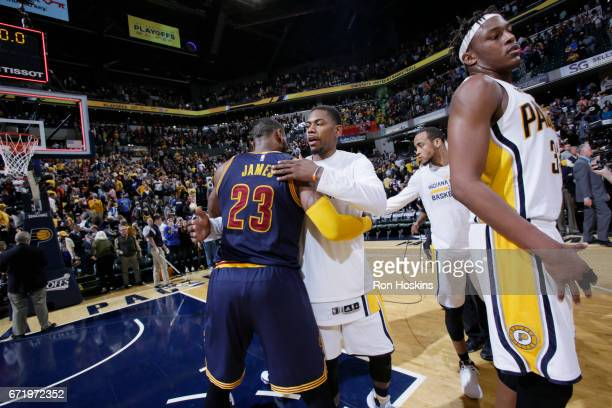 LeBron James of the Cleveland Cavaliers hugs Glenn Robinson III of the Indiana Pacers after Game Four of the Eastern Conference Quarterfinals of the...