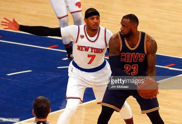 LeBron James of the Cleveland Cavaliers in action against Carmelo Anthony of the New York Knicks at Madison Square Garden on February 4 2017 in New...