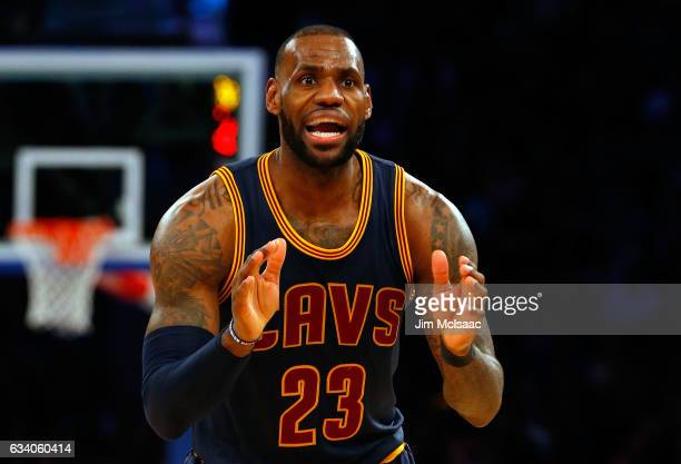 LeBron James of the Cleveland Cavaliers in action against the New York Knicks at Madison Square Garden on February 4 2017 in New York City The...