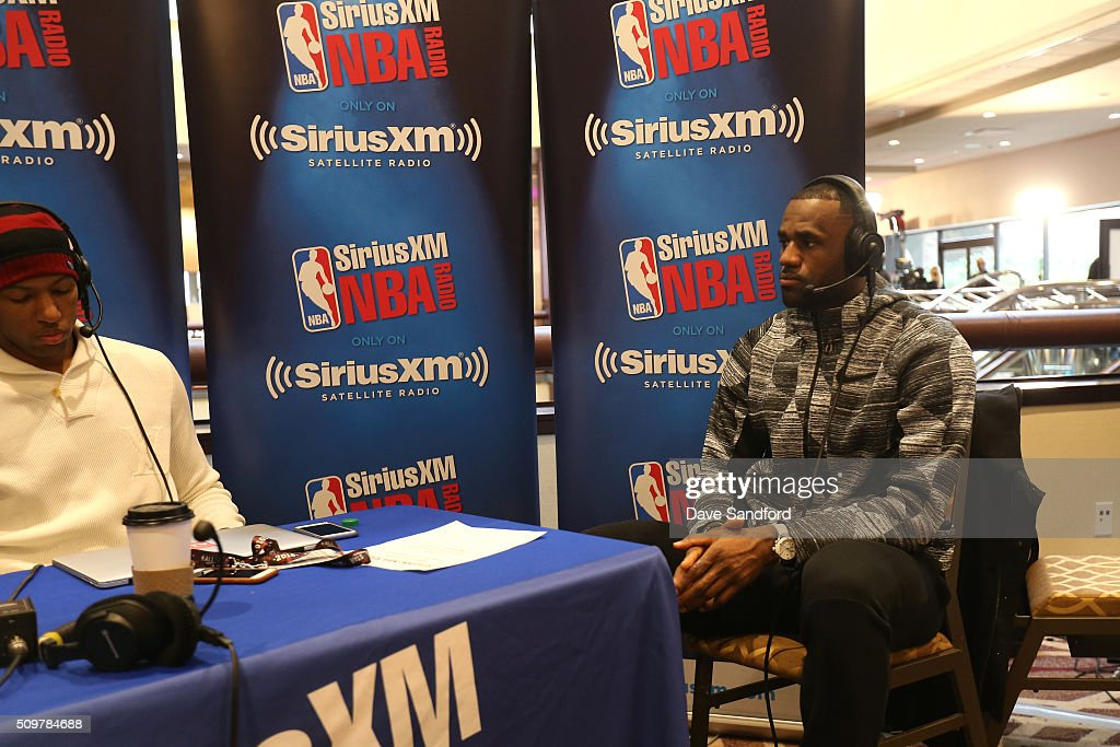 <a gi-track='captionPersonalityLinkClicked' href=/galleries/search?phrase=LeBron+James&family=editorial&specificpeople=201474 ng-click='$event.stopPropagation()'>LeBron James</a> #23 of the Cleveland Cavaliers interviews with Sirius XM during the NBAE Circuit as part of 2016 NBA All-Star Weekend at the Sheraton Centre Toronto Hotel on February 12, 2016 in Toronto, Ontario, Canada.