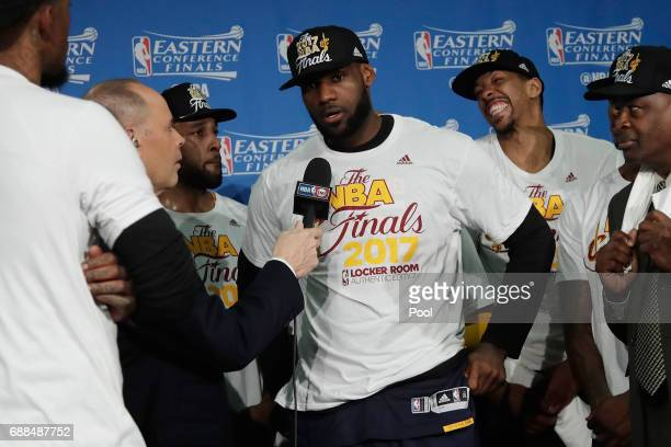 LeBron James of the Cleveland Cavaliers is interviewed after defeating the Boston Celtics 135102 in Game Five of the 2017 NBA Eastern Conference...