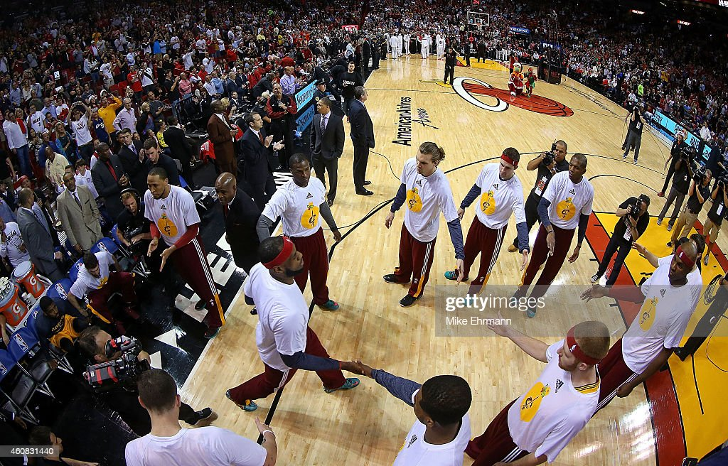 LeBron James of the Cleveland Cavaliers is introduced during a game against the Miami Heat at American Airlines Arena on December 25 2014 in Miami...