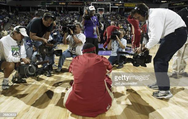 Lebron James of the Cleveland Cavaliers is photographed during warm ups against the Sacramento Kings before an NBA game at Arco Arena on October 29...