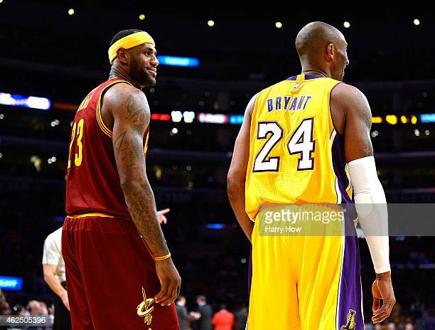 LeBron James of the Cleveland Cavaliers laughs with Kobe Bryant of the Los Angeles Lakers during a 109102 Cavalier win at Staples Center on January...