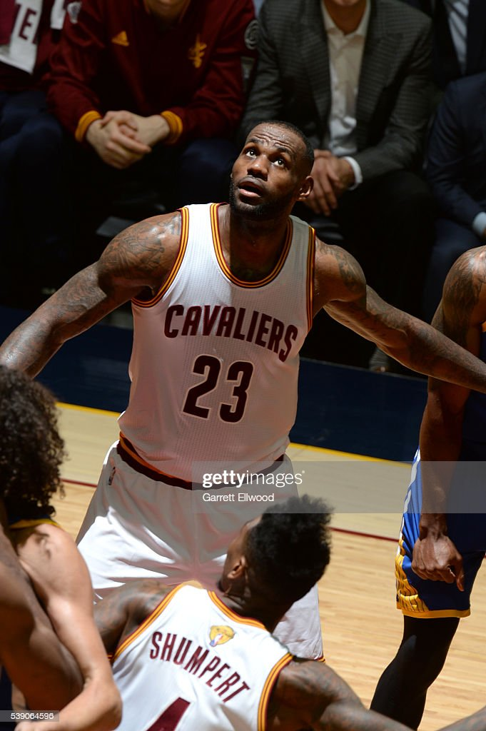 LeBron James #23 of the Cleveland Cavaliers looks for the rebound against the Golden State Warriors during the 2016 NBA Finals Game Three on June 8, 2016 at Quicken Loans Arena in Cleveland, Ohio.