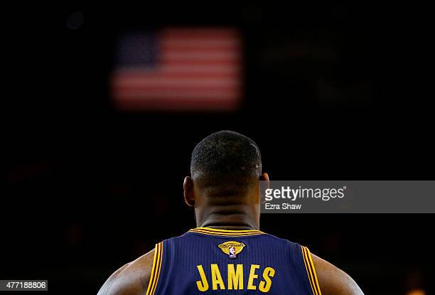 LeBron James of the Cleveland Cavaliers looks on against the Golden State Warriors in the second half during Game Five of the 2015 NBA Finals at...