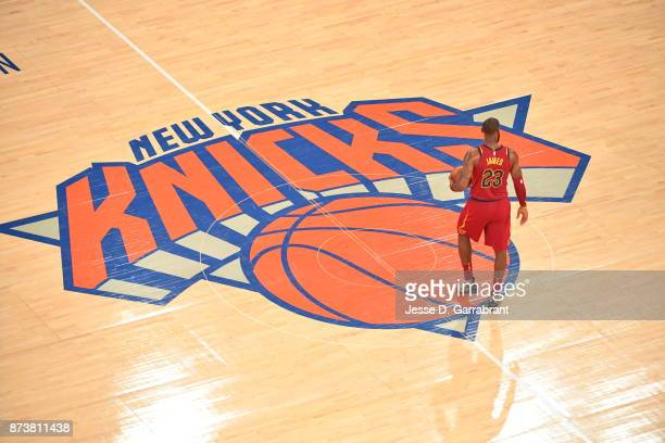 LeBron James of the Cleveland Cavaliers looks on against the New York Knicks at Madison Square Garden on November 13 2017 in New York New York NOTE...