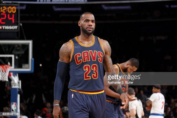 LeBron James of the Cleveland Cavaliers looks on before the game against the New York Knicks on February 4 2017 at Madison Square Garden in New York...