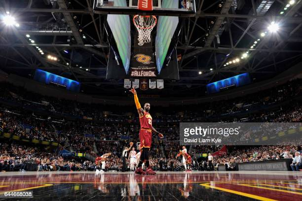 LeBron James of the Cleveland Cavaliers looks on before the game against the New York Knicks on February 23 2017 at Quicken Loans Arena in Cleveland...
