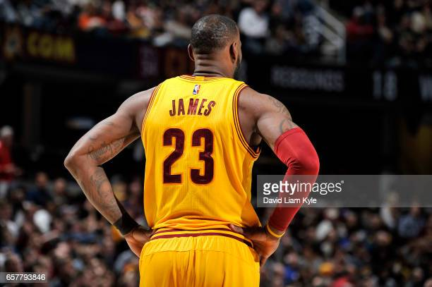 LeBron James of the Cleveland Cavaliers looks on during the game against the Washington Wizards on March 25 2017 at Quicken Loans Arena in Cleveland...