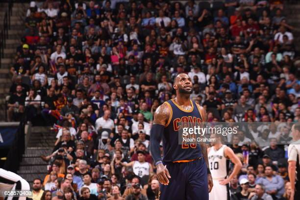 LeBron James of the Cleveland Cavaliers looks on during the game against the San Antonio Spurs on March 27 2017 at the ATT Center in San Antonio...