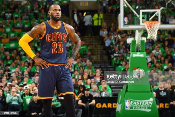 LeBron James of the Cleveland Cavaliers looks on during the game against the Boston Celtics during Game Five of the Eastern Conference Finals of the...