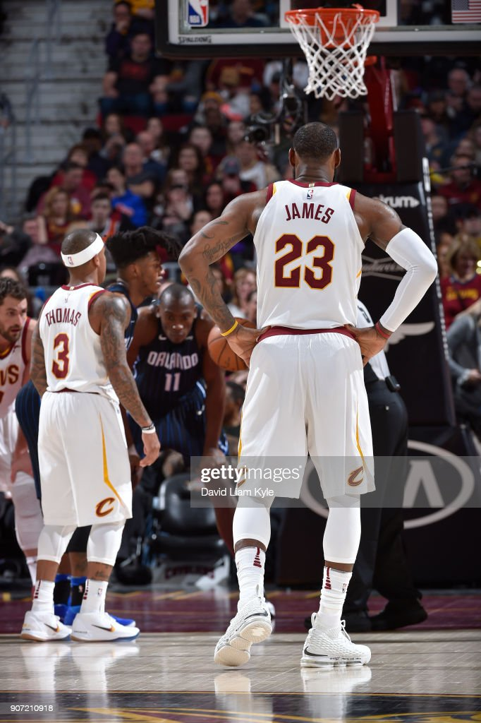 LeBron James #23 of the Cleveland Cavaliers looks on during the game against the Orlando Magic on January 18, 2018 at Quicken Loans Arena in Cleveland, Ohio.