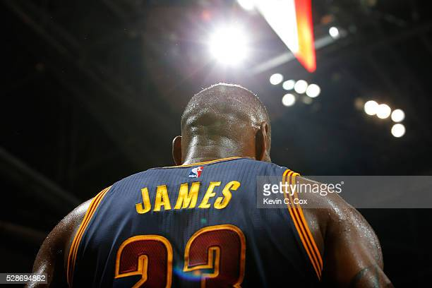 LeBron James of the Cleveland Cavaliers looks on in the final seconds of their 121108 win over the Atlanta Hawks in Game Three of the Eastern...