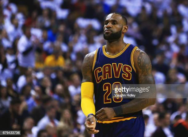 Lebron James of the Cleveland Cavaliers looks on in the first half of Game Three of the Eastern Conference Semifinals against the Toronto Raptors...