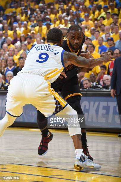 LeBron James of the Cleveland Cavaliers looks to make a move against the Golden State Warriors in Game Five of the 2017 NBA Finals on June 12 2017 at...