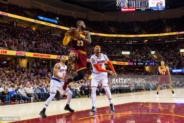 LeBron James of the Cleveland Cavaliers looks to pass during the second half against the New York Knicks at Quicken Loans Arena on February 23 2017...