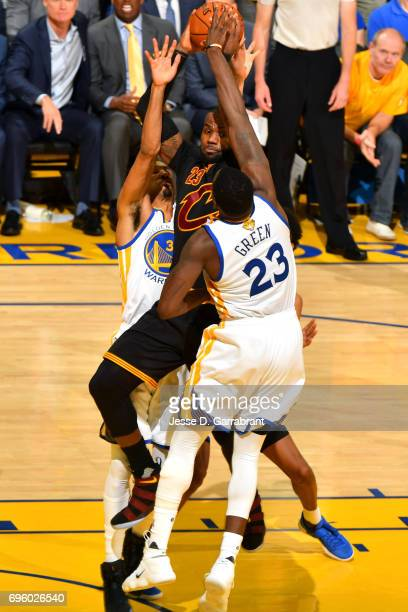 LeBron James of the Cleveland Cavaliers looks to pass the ball against the Golden State Warriors in Game Five of the 2017 NBA Finals on June 12 2017...