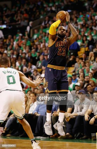 LeBron James of the Cleveland Cavaliers makes a three point shot that makes him the all time playoff points leader passing Michael Jordan in the...