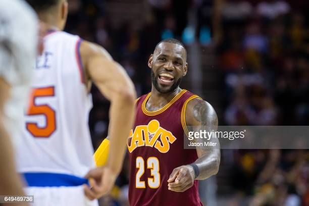 LeBron James of the Cleveland Cavaliers on the court during the second half against the New York Knicks at Quicken Loans Arena on February 23 2017 in...