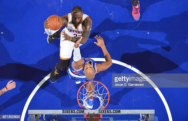 LeBron James of the Cleveland Cavaliers passes Hakeem Olajuwon for tenth alltime on the scoring list against the Philadelphia 76ers during game at...