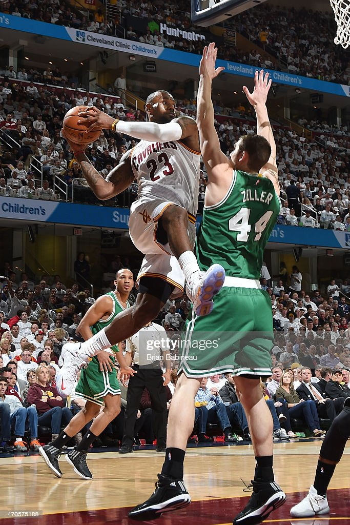 LeBron James #23 of the Cleveland Cavaliers passes the ball against Tyler Zeller #44 of the Boston Celtics during Game Two of the Eastern Conference Quarterfinals during the 2015 NBA Playoffs on April 21, 2015 at Quicken Loans Arena in Cleveland, Ohio.