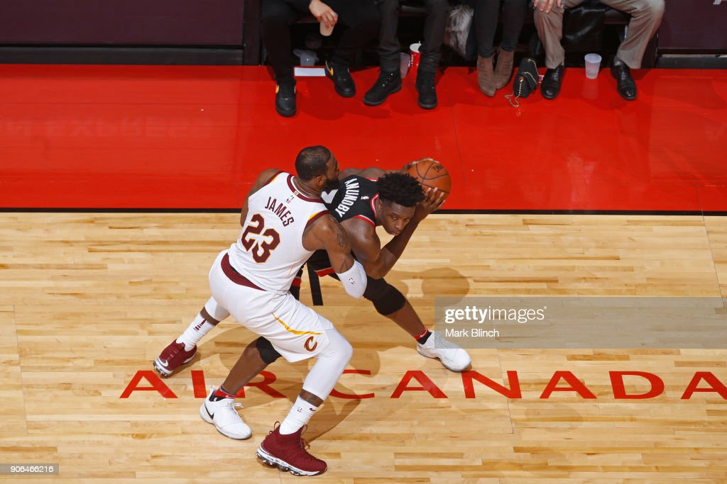 LeBron James #23 of the Cleveland Cavaliers plays defense on OG Anunoby #3 of the Toronto Raptors on January 11, 2018 in Toronto, Ontario, Canada.