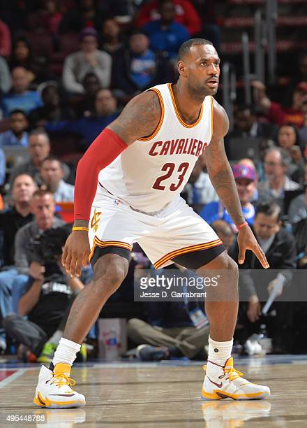 LeBron James of the Cleveland Cavaliers plays tight defense against the Philadelphia 76ers at Wells Fargo Center on November 2 2015 in Philadelphia...