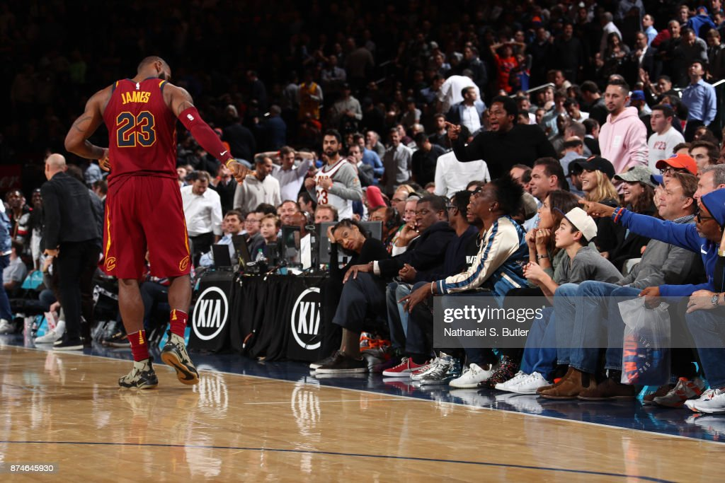 LeBron James #23 of the Cleveland Cavaliers points at Director, Spike Lee during the game against the New York Knicks on November 13, 2017 at Madison Square Garden in New York City, New York.