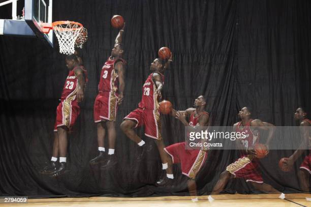 LeBron James of the Cleveland Cavaliers poses for a portrait on August 1 2003 in Cleveland Ohio NOTE TO USER User expressly acknowledges that by...