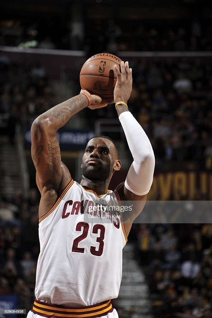 <a gi-track='captionPersonalityLinkClicked' href=/galleries/search?phrase=LeBron+James&family=editorial&specificpeople=201474 ng-click='$event.stopPropagation()'>LeBron James</a> #23 of the Cleveland Cavaliers prepares to shoot a free throw against the Sacramento Kings on February 8, 2016 at Quicken Loans Arena in Cleveland, Ohio.