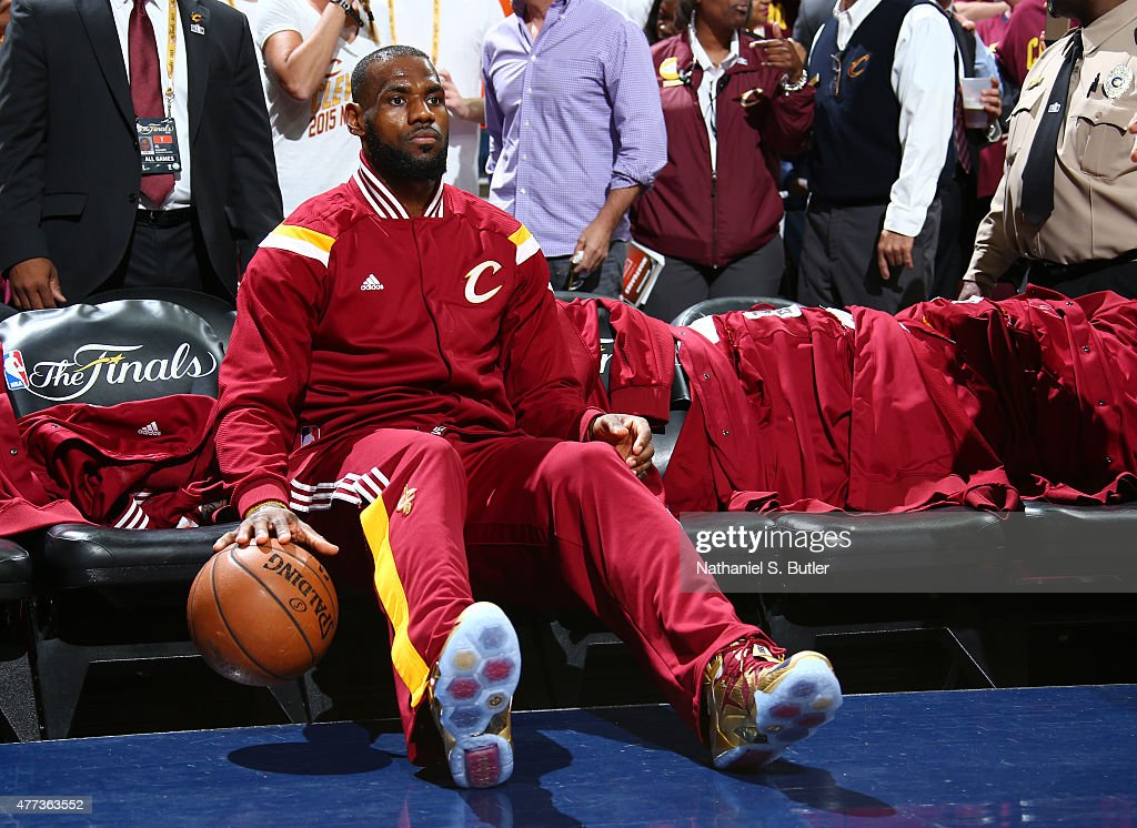 LeBron James of the Cleveland Cavaliers prior to Game Six of the 2015 NBA Finals at The Quicken Loans Arena on June 16 2015 in Cleveland Ohio NOTE TO...