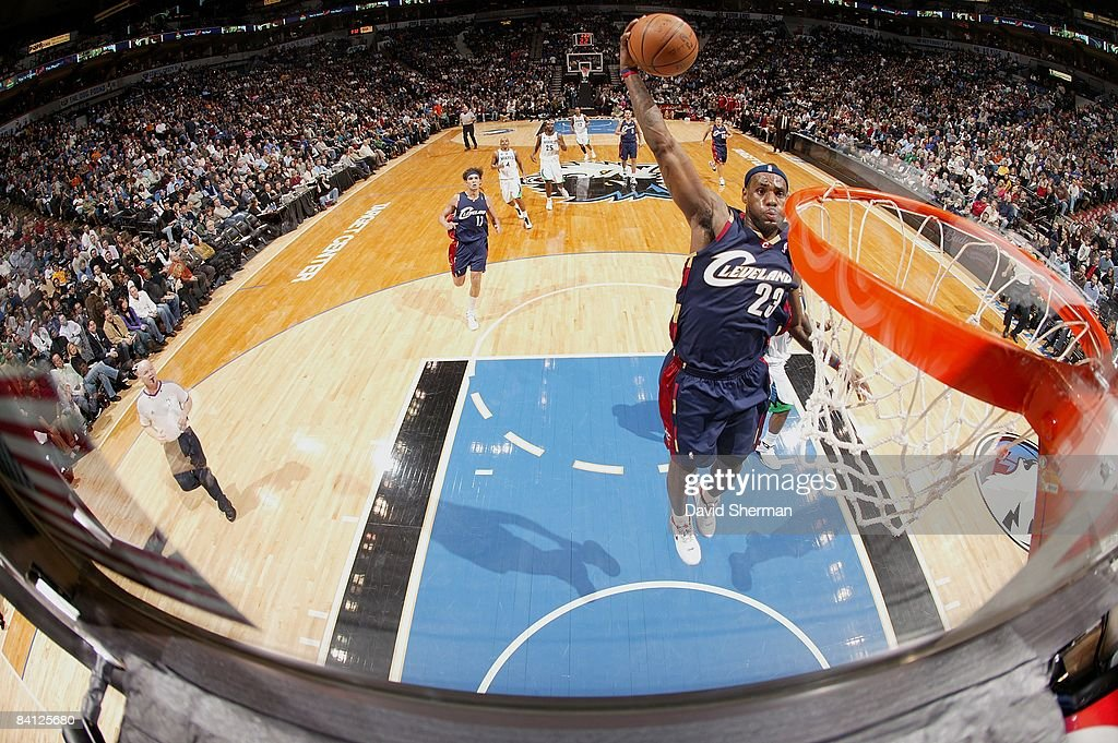 LeBron James of the Cleveland Cavaliers puts up a shot past the Minnesota Timberwolves during the game on December 17 2008 at the Target Center in...