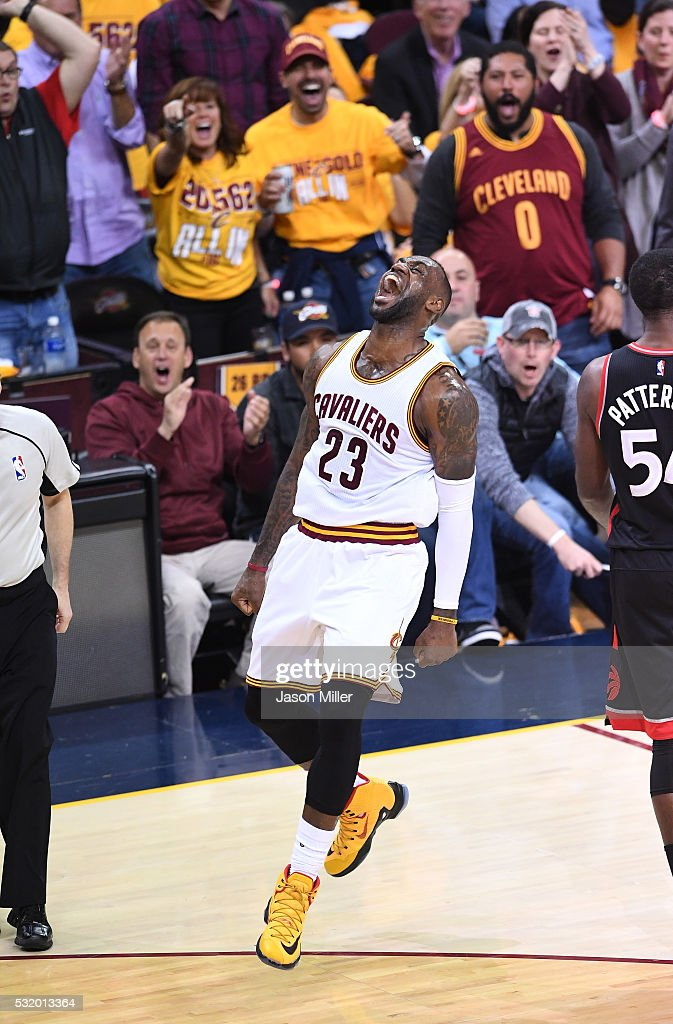 LeBron James #23 of the Cleveland Cavaliers reacts after a basket in the second quarter against the Toronto Raptors in game one of the Eastern Conference Finals during the 2016 NBA Playoffs at Quicken Loans Arena on May 17, 2016 in Cleveland, Ohio.