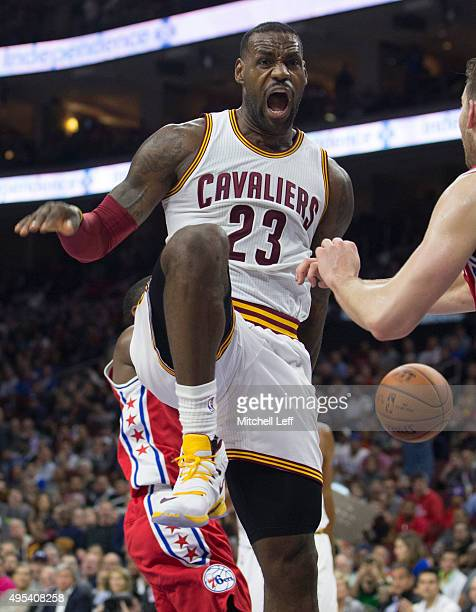 LeBron James of the Cleveland Cavaliers reacts after a dunk in the fourth quarter against the Philadelphia 76ers on November 2 2015 at the Wells...