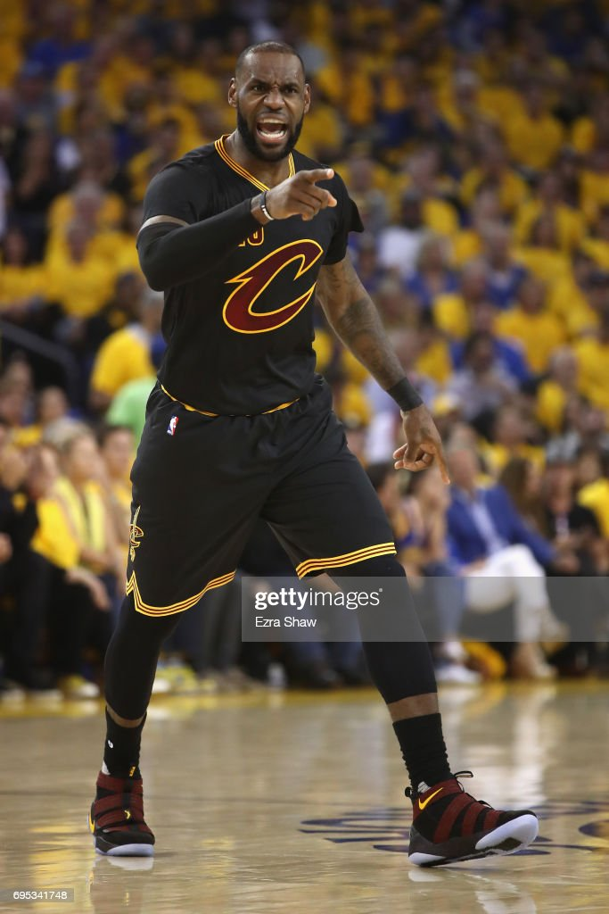 LeBron James #23 of the Cleveland Cavaliers reacts after a plat against the Golden State Warriors in Game 5 of the 2017 NBA Finals at ORACLE Arena on June 12, 2017 in Oakland, California.