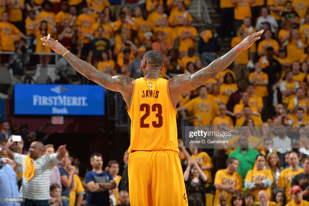 <a gi-track='captionPersonalityLinkClicked' href=/galleries/search?phrase=LeBron+James&family=editorial&specificpeople=201474 ng-click='$event.stopPropagation()'>LeBron James</a> #23 of the Cleveland Cavaliers reacts after a play against the Atlanta Hawks at the Quicken Loans Arena During Game Three of the Eastern Conference Finals during the 2015 NBA Playoffs on May 24, 2015 in Cleveland,Ohio