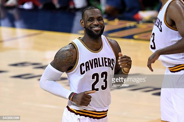 LeBron James of the Cleveland Cavaliers reacts after a play in the second half against the Golden State Warriors in Game 6 of the 2016 NBA Finals at...