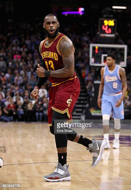 LeBron James of the Cleveland Cavaliers reacts after he didn't like a call during their game against the Sacramento Kings at Golden 1 Center on...
