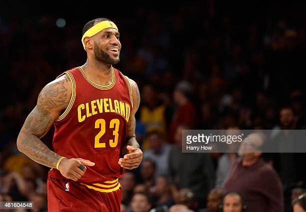 LeBron James of the Cleveland Cavaliers reacts after his missed dunk during the first half against the Los Angeles Lakers at Staples Center on...