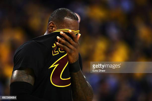 LeBron James of the Cleveland Cavaliers reacts against the Golden State Warriors during the second half of Game 2 of the 2017 NBA Finals at ORACLE...