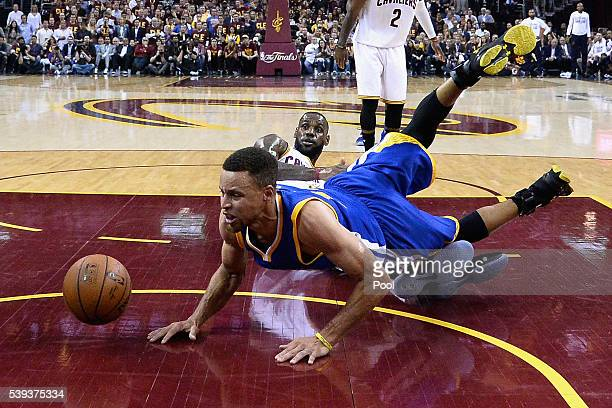 LeBron James of the Cleveland Cavaliers reacts as Stephen Curry of the Golden State Warriors falls during the first half in Game 4 of the 2016 NBA...